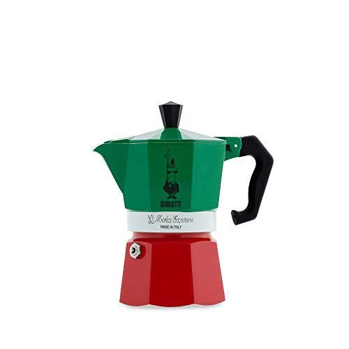 Bialetti 5322 Machine à Expresso Aluminium, Vert/Rouge, 30 x 20 x 15 cm-3 tasses