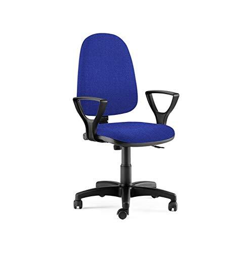 L.C. Office Sedia Poltrona Operativa Made in Italy per Ufficio Kit, Meccanismo Contatto Permanente Braccioli e Base in Nylon, Blu (Blu)
