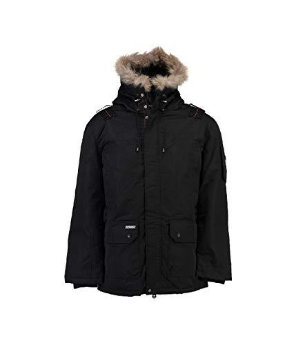 Geographical Norway Ametyste - Parka invernale da uomo, con cappuccio in pelliccia Nero L
