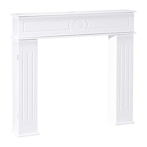 Home Creation Kaminkonsole Kaminumrandung im Landhaus Stil mit Türen B×H×T: ca. 107×100×18 cm in Weiß - Konsole Kamin für Elektrokamin Gelkamin
