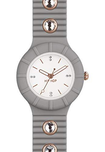 Orologio HIP HOP donna CRYSTAL quadrante bianco e cinturino in silicone, glam grigio, movimento SOLO TEMPO - 3H QUARZO