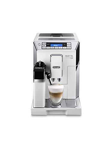 De'Longhi ECAM 45.760.W Macchina per caffè espresso superautomatica, 1450 W, Acciaio/Plastica, Argento/Bianco