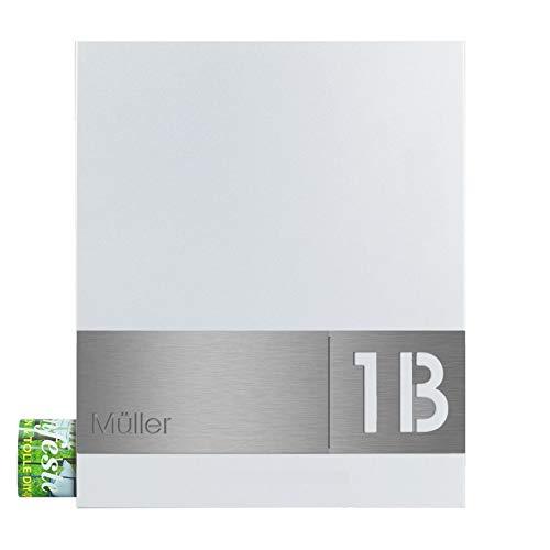 Zeitungsfach-Briefkasten weiß inkl. Hausnummer + Namensschild, V4A-Edelstahl gebürstet, MOCAVI Box 111 Postkasten modern, Design-Wandbriefkasten A4, RAL 9003 matt, Designer-Postbox groß