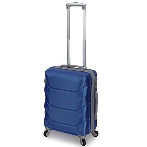 Trolley ORMI Valigia Bagaglio a Mano 55x40x20 Rigido 4 Ruote Per Ryanair EasyJet (Celeste)