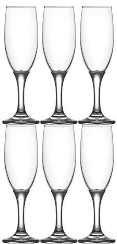 Set 6 Flute Misket 190 Ml, Calice Da Champagne, Flute Da Spumante, Bicchiere In Vetro, Altezza 19 Cm, 190 ml