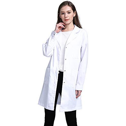 Icertag Camice Bianco da Laboratorio Donna, Medico Cappotto, Camice per Le Donne, Camice Bianco per...