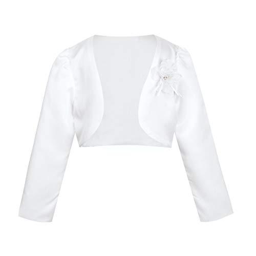 iEFiEL Kinder Bolero Schulterjacke Jäckchen Mädchen Bolero Jacke Festlich - Langarm Weiß/Rosa/Beige/Ivory Weiß 134-140 (Herstellergröße: 160)