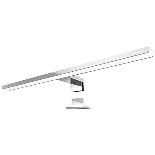LED Spiegelleuchte LEVA 2-in-1 Aufbauleuchte oder Klemmleuchte 50cm in chrom, 8W IP44, warmweiß 2700K - für Möbel, Spiegel und Bad