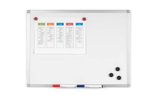BoardsPlus - Lavagna Magnetica Bianca, 60 x 45 cm, Lavagna Cancellabile A Secco Con Cornice Sottile...