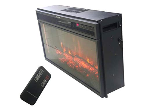 RVA Decorative Electric Fireplace with Remote (28 INCHES, BLACK MATT)