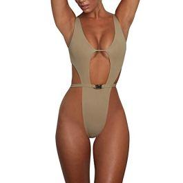 ♫Tinta Unita Costume Intero Donna♫Bikini Brasiliana Sexy Mare Push Up Mare Perizoma Intero Mutandine Inferiore Triangolare Costumi Beachwear Posteriore Backless Tronchi