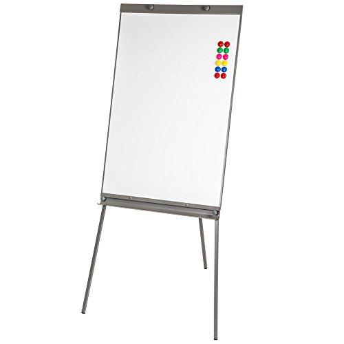 TecTake Lavagna flipchart a ufficio whiteboard magnetico bianca regolabile in altezza 65x95 cm + 12