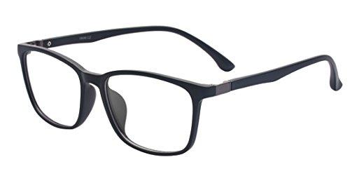 ALWAYSUV Voll Rahmen Rechteckig Klare Gläsern Optische Stärke Rahmen Brillenfassung Nerd Brille Schwarz