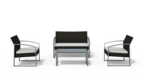 Salotto alicante con divano Colore Nero lavato, set da 4 pezzi: 2 poltrone, 1 divano, 1 tavolo, struttura in acciaio verniciato grigio, cuscini in polyester, Garden Friend
