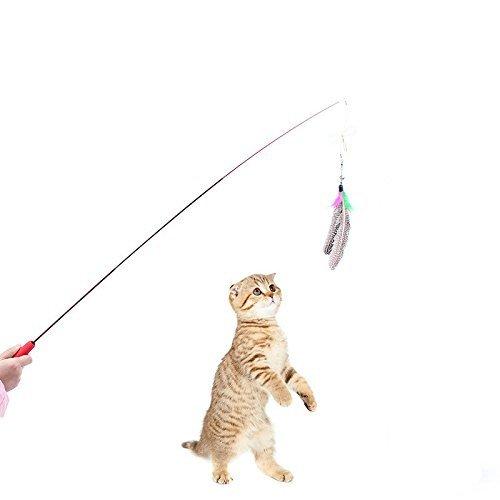3canne da pesca per gatti, divertenti, con piume, telescopiche, in fibra di carbonio altamente elastica