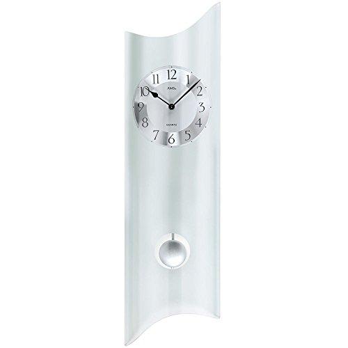 Ams quarzo con pendolo orologio a pendolo moderno Designer Orologio da parete vetro satinato, nuovo