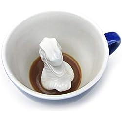 Taza de cerámica Tiranosaurus Rex de CREATURE CUPS (325 ml, azul cobalto) | Animal oculto en el interior | Regalo de vacaciones y cumpleaños para amantes del café y el té