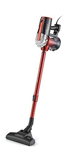 Ariete 2761 Handy Force- Scopa elettrica con doppia funzione aspirapolvere e aspira briciole,Filtro HEPA, Tecnologia ciclonica, Senza Sacco, Tubo telescopico, Classe energetica A+, Rosso/Nero