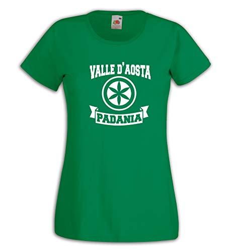 Settantallora - T-Shirt Maglietta Donna J3293 Valle d'Aosta Regione della Padania Taglia L