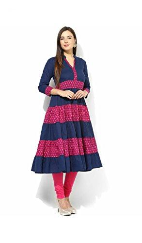 AnjuShree Choice Women's Cotton Printed Blue Anarkali Kurti (Large)