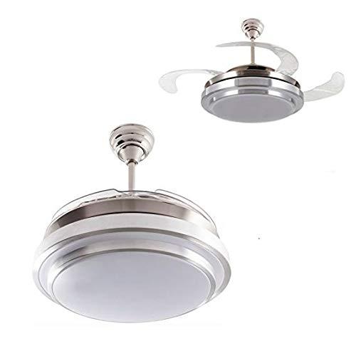 Ventilador de techo mod. Selene con LED incorporado y mando a distancia, 107 cm. acabado cromo y blanco con 4 aspas transparentes, AkunaDecor.