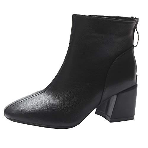 Schuhe Stiefel Damen Mode, SUNNSEAN Damenstiefel Square Heel PU Leder  Dicker Absatz Reißverschluss Kurze Stiefel Outdoor Boots Kurzschaft British  Stil ef805e7c30