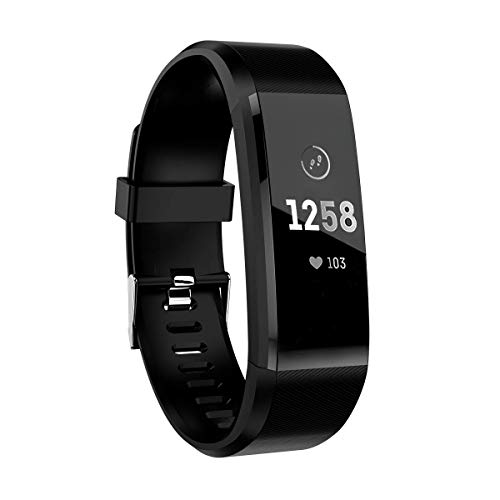 ATETION Smartwatch Orologio Fitness Tracker Uomo Donna Pressione Sanguigna Smart Watch Cardiofrequenzimetro da Polso Contapassi Smartband Sportivo Activity Tracker (Nero)