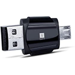 iBall 2In1 Hybrid Dual Usb Card Reader 2 In 1 Use As A Card Reader , Use As Pendrive ,Black
