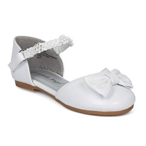 Alrisco Girls Ankle Strap Dorsay Flat (Toddler) – Rhinestone Bow Tie Dressy Versatile Dress Shoe – HD33 by Little Angel Collection 31koY8HH01L