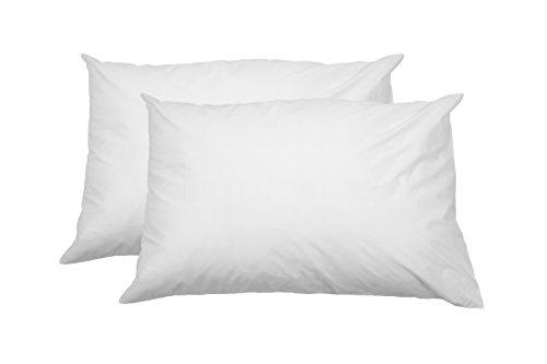 AmazonBasics - Federa copricuscino in 100% cotone morbido, con cerniera, 100% cotone, con cerniera, bianco, 50 x 80 cm - 2 pz