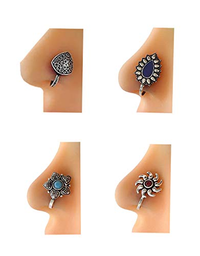 Anuradha Art Silver Multi Colour Press On Combo Pack Nose Ring/Nose Stud/Pin For Women/Girls 3