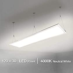 Lighting EVER LE Panel LED 40W = 80W Fluorescente Blanco Neutro 4000K 4000 lúmenes, Luz de Techo Oficina Salón Cocina, Rechteck