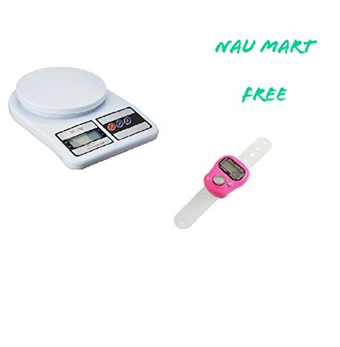 Nau Mart Best Electronic Kitchen Digital Weighing Scale,Multipurpose (White, 10 Kg) + Free Tally Counter Jewelry Measuring Scale Accurate Measurement | Weighing Scale for Household use