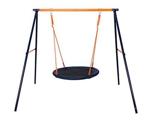 If you are looking for a swing set for one child, the Hedstrom M08858 Fabric Nest Swing makes a great pick. You can build this real quick and the sturdy metal frame won't disappoint. We just feel Hedstrom could have added an extra feature to sell the structure at its current price, though it fits the purpose.