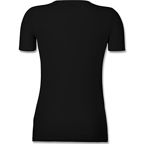 Oktoberfest Damen - Dirndl wird g'woschn - Shirt statt Dirndl - M - Schwarz - F281N - Tailliertes T-Shirt mit V-Ausschnitt für Frauen - 2