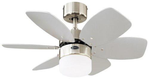 Westinghouse Ventilatore a Soffitto Flora Royale, Metallo, Finitura in Cromo Satinato, Pale in...