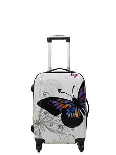 Trolley da cabina bambini con farfalle, colore: bianco