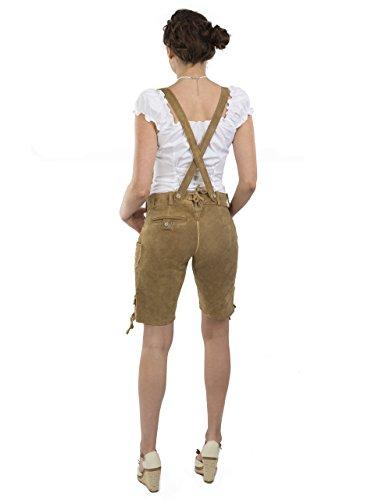 Damen Wiesnzauber Trachtenlederhose - mittellange Trachten Lederhosen - Lederhose Alternative zum Dirndl - sexy Hose Trachtenhose (34, Hellbraun) - 2