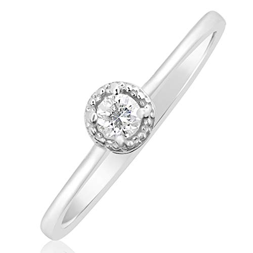 Anello Donna Fidanzamento Oro e Diamanti–Oro Bianco 9kt 375  Diamanti 0.02Carati e Oro bianco 375, 18 cod. SOLML002B