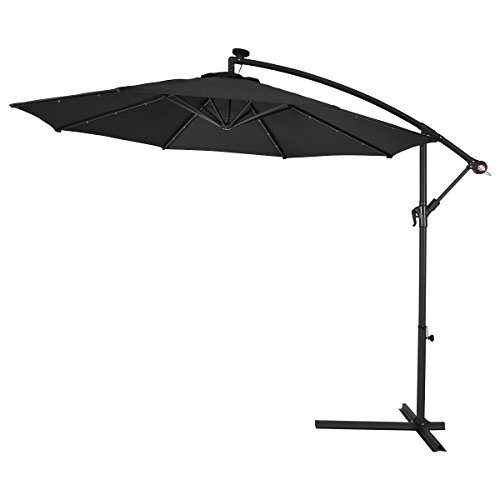 As always, in order to survive the outdoors, the materials used have to be of a certain strength. That is why this model is made of hanging powder coated steel and 180g polyester. The powder coated steel is protected from rust/corrosion. The polyester canopy is both UV protected and water repellent allowing you to enjoy time under the parasol whether it is sunny or raining.