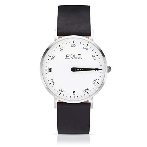 Pole Watches - Polar - Quarz-Analoguhr für Herren mit Weiß Zifferblatt und Schwarz Lederarmband B-1001BL-NE07