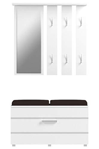 Opal - Set Arredo Ingresso e Corridoio / Scarpiera e Appendiabiti con Cuscini Imbottiti (Bianco)