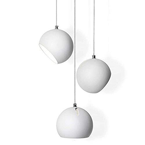 Lampadario a sospensione moderno e minimalista, rotondo, bianco, 3 luci, creativo, in metallo, con...