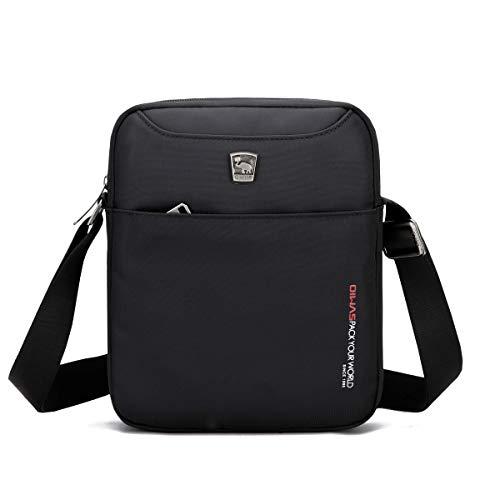 OIWAS Umhängetasche Herren kleine Schultertasche Mini Tasche Crossbody Messenger Bag für Handy Tablet Urlaub Reise Ausflug Spaziergang und Wandern Schwarz