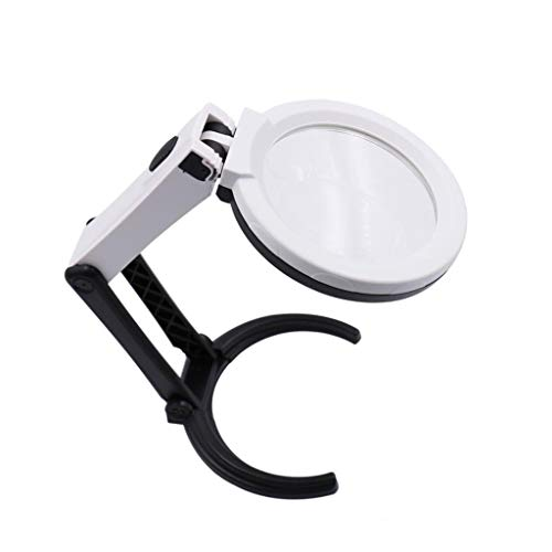 NO BRAND Lupa Plegable con 10 Luces LED, 2X 5X Lupa iluminada con Lente de Cristal for los Libros de joyería pequeño periódico Imprime