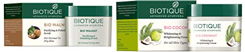 Biotique Bio Walnut Purifying & Polishing Scrub For Normal To Dry Skin , 50G and Biotique Bio Coconut Whitening And Brightening Cream, 50g