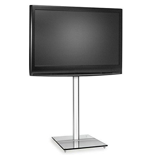 Supporto TV LCD LED con staffa in alluminio e base in vetro temperato (VESA, design elegante,...
