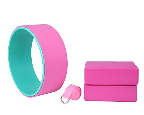 Exerz EXYS-003 Yoga Essential Set 4pcs - 1 x Rueda, 2 x Bloques,1 x Cinturón - para Yoga, Pilates y Otros Entrenamientos de Fitness - Estiramiento, Equilibrio, Soporte- para Todos los Niveles - Rosa