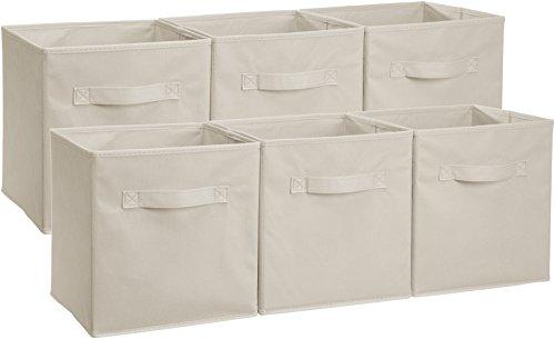 AmazonBasics - Contenitori pieghevoli quadrati (confezione da 6), Beige