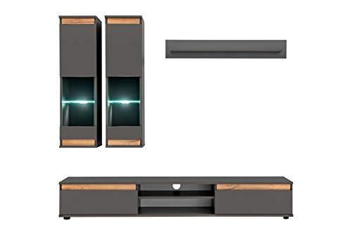 muebles bonitos Mobile da Soggiorno Modello Borneo Colore Grigio Antracite e Quercia (175m)